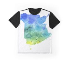 Watercolor Map of New Brunswick, Canada in Blue and Green - Giclee Print  Graphic T-Shirt