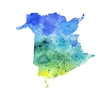 Watercolor Map of New Brunswick, Canada in Blue and Green - Giclee Print  Photographic Print