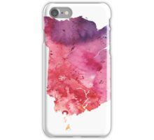 Watercolor Map of New Brunswick, Canada in Orange, Red and Purple - Giclee Print iPhone Case/Skin