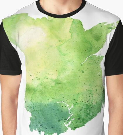 Watercolor Map of New Brunswick, Canada in Green  Graphic T-Shirt
