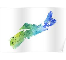 Watercolor Map of Nova Scotia, Canada in Blue and Green - Giclee Print of My Own Watercolor Painting Poster