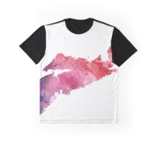 Watercolor Map of Nova Scotia, Canada in Orange, Red and Purple - Giclee Print  Graphic T-Shirt