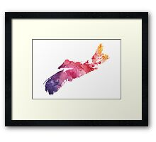Watercolor Map of Nova Scotia, Canada in Orange, Red and Purple - Giclee Print  Framed Print