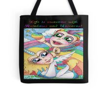 Rainbows And Unicorns with Text Tote Bag