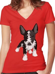 Spiral English Bull Terrier Puppy Women's Fitted V-Neck T-Shirt