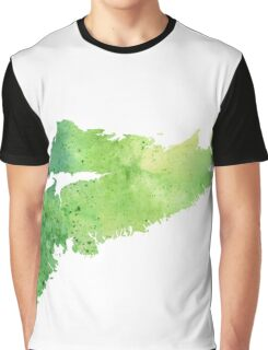 Watercolor Map of Nova Scotia, Canada in Green  Graphic T-Shirt