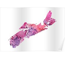 Watercolor Map of Nova Scotia, Canada in Pink and Purple - Giclee Print My Own Watercolor Painting Poster