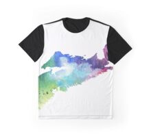 Watercolor Map of Nova Scotia, Canada in Rainbow Colors Graphic T-Shirt