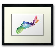 Watercolor Map of Nova Scotia, Canada in Rainbow Colors - Giclee Print  Framed Print