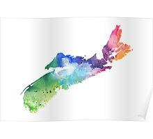 Watercolor Map of Nova Scotia, Canada in Rainbow Colors - Giclee Print  Poster
