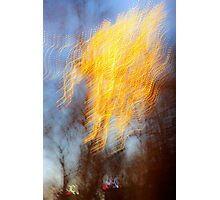 Abstract defocused colour lights in a dark blue night sky Photographic Print