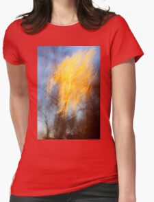 Abstract defocused colour lights in a dark blue night sky Womens Fitted T-Shirt