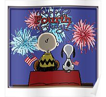 Snoopy And Charlie Happy Fourth Of July Poster