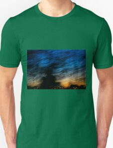 Motion blurred trees and landscape abstract at sunset  Unisex T-Shirt
