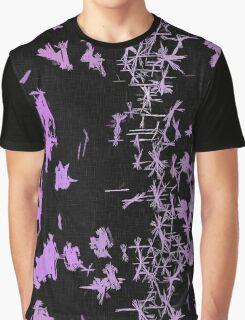 Purple Sparks, Stars on Black Pattern Graphic T-Shirt