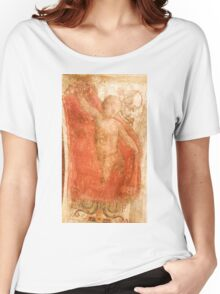 Ancient painting of a Cherub on a stucco wall Photographed in a Monastery in Assisi, Italy  Women's Relaxed Fit T-Shirt
