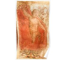 Ancient painting of a Cherub on a stucco wall Photographed in a Monastery in Assisi, Italy  Poster