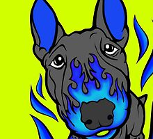Custom Hot Rod Bull Terrier Blue by Sookiesooker