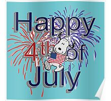 Snoopy With American Flag And Happy 4th Of July Poster