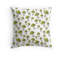 Mini Mushrooms in Lime Green Throw Pillow