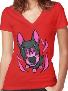 Custom Hot Rod Bull Terrier Hot Pink  Women's Fitted V-Neck T-Shirt