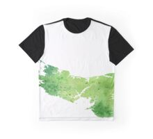 Watercolor Map of Prince Edward Island, Canada in Green - Giclee Print of My Own Watercolor Painting Graphic T-Shirt