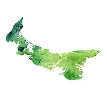 Watercolor Map of Prince Edward Island, Canada in Green - Giclee Print of My Own Watercolor Painting Photographic Print