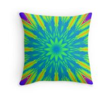 Psychedelic rainbow burst Throw Pillow