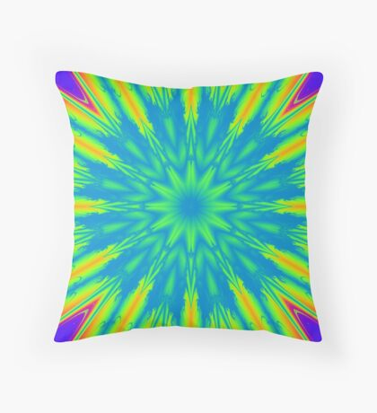Psychedelic rainbow burst Throw Pillow