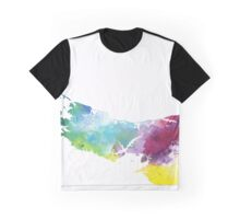 Watercolor Map of Prince Edward Island, Canada in Rainbow Colors - Giclee Print  Graphic T-Shirt