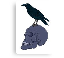 Raven Perched On A Human Skull Canvas Print