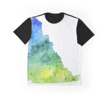 Watercolor Map of Yukon, Canada in Blue and Green - Giclee Print of My Own Watercolor Painting Graphic T-Shirt