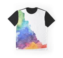 Watercolor Map of Yukon, Canada in Rainbow Colors - Giclee Print of My Own Watercolor Painting Graphic T-Shirt