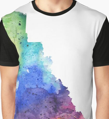 Watercolor Map of Yukon, Canada in Rainbow Colors Graphic T-Shirt