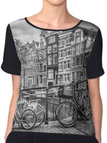 AMSTERDAM Flower Canal black & white Chiffon Top
