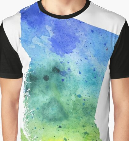 Watercolor Map of British Columbia, Canada in Blue and Green  Graphic T-Shirt