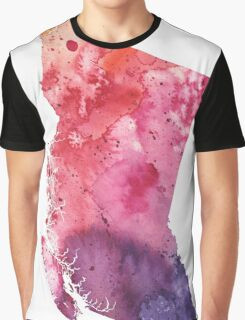 Watercolor Map of British Columbia, Canada in Orange, Red and Purple - Giclee Print Graphic T-Shirt