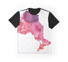 Watercolor Map of Ontario, Canada in Orange, Red and Purple - Giclee Print  Graphic T-Shirt