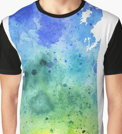 Watercolor Map of Saskatchewan, Canada in Blue and Green Graphic T-Shirt