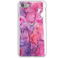 Watercolor Map of Saskatchewan, Canada in Pink and Purple - Giclee Print iPhone Case/Skin