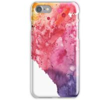 Watercolor Map of Alberta, Canada in Orange, Red and Purple - Giclee Print  iPhone Case/Skin