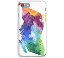Watercolor Map of British Columbia, Canada in Rainbow Colors - Giclee Print  iPhone Case/Skin