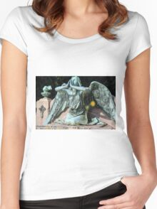 weeping angel at the Monumental Cemetery of Staglieno (Cimitero monumentale di Staglieno), Genoa, Italy Women's Fitted Scoop T-Shirt