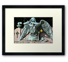 weeping angel at the Monumental Cemetery of Staglieno (Cimitero monumentale di Staglieno), Genoa, Italy Framed Print