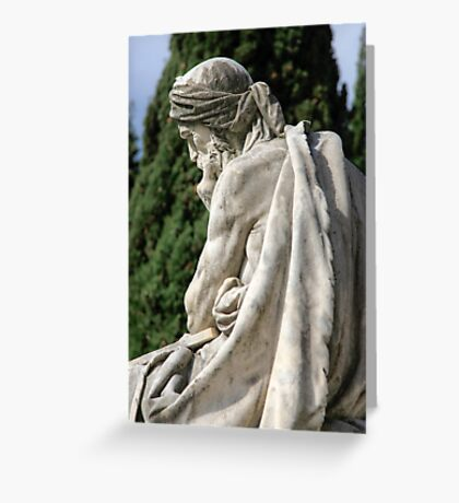 Statue of a young grieving man at the Monumental Cemetery of Staglieno (Cimitero monumentale di Staglieno), Genoa, Italy Greeting Card