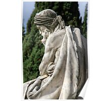 Statue of a young grieving man at the Monumental Cemetery of Staglieno (Cimitero monumentale di Staglieno), Genoa, Italy Poster