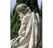 Statue of a young grieving man at the Monumental Cemetery of Staglieno (Cimitero monumentale di Staglieno), Genoa, Italy Photographic Print