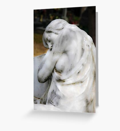 statue of grief and consolation at the Monumental Cemetery of Staglieno  Greeting Card