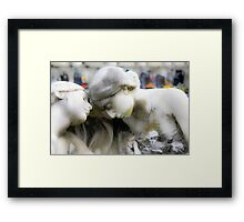 statue of grief and consolation at the Monumental Cemetery of Staglieno  Framed Print