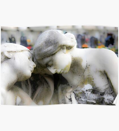 statue of grief and consolation at the Monumental Cemetery of Staglieno  Poster